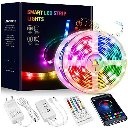 Tiras LED 15M, Beaeet Luces LED 5050 RGB Tira LED con Control Remoto de 40 Botones, Sincronización de música Bluetooth, LED Strip Light para Habitacion, Sala, Comedor, Cocina