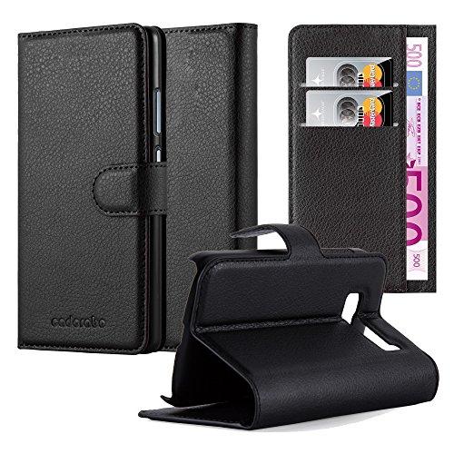 Cadorabo Hülle für Alcatel OneTouch POP C5 - Hülle in Phantom SCHWARZ – Handyhülle mit Kartenfach & Standfunktion - Case Cover Schutzhülle Etui Tasche Book Klapp Style