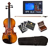 Cecilio CVA-500 Ebony Fitted Flamed Solid Wood Viola with Tuner, Case, Bow, Rosin, Bridge and Strings, Size 16.5-Inch