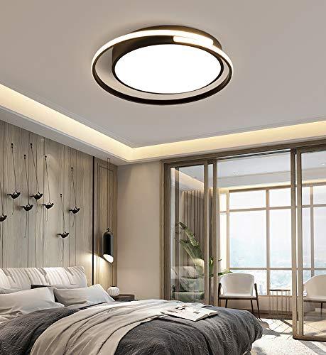 Plafoniera a LED, moderna dimmerabile lampadario per camera da letto con telecomando, plafoniera di design rotonda, dispositivo di illuminazione regolabile in continuo, nero (62)