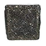 Femmes en métal étui à cigarettes cas de stockage bling bling boîte à cigarettes pour 20 cigarettes de taille normale, Noir...