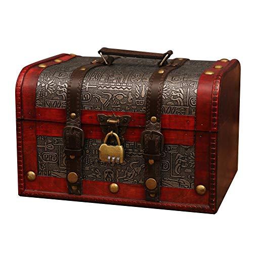 Luminiu - Cofre del Tesoro con candado, Caja para cosméticos, Caja de Regalo, Madera, artesanía, decoración