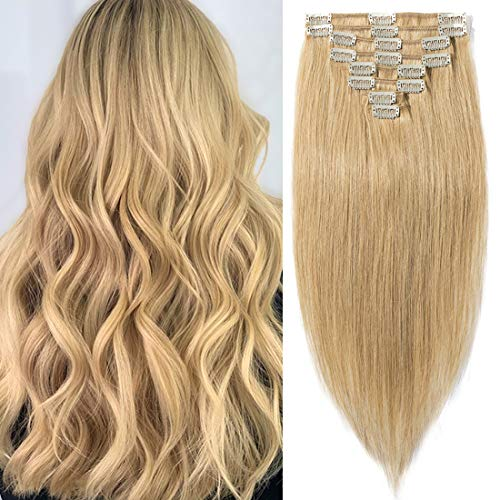 "S-noilite Clip in Hair Extensions Human Hair Clip in Blonde Hair Short Length Full Head 8 Pieces 18 Clips 100% Real Silky Human Hair 10""-70g Dark Blonde (#27)"