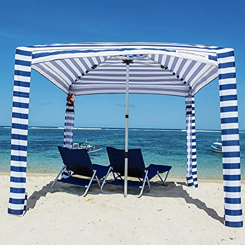 CoolCabanas Beach Cabana - 8' x 8' - Beach Canopy Tent, Easy to Setup, Folds to just 3'5', Perfect for Family Beach Days, Beach Shade UPF 50+, The Original and The Best (Palms, Large - 64ft2)