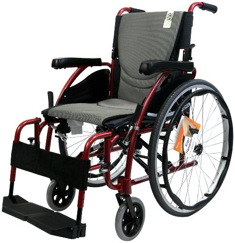 Karman Ergonomic Wheelchair in 18 inch Seat, Red Frame