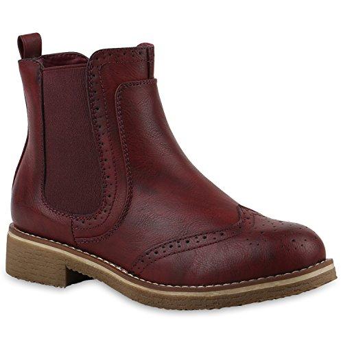 Damen Schuhe Stiefeletten Chelsea Boots Leicht Gefütterte Freizeitschuhe 145833 Dunkelrot Avion 39 Flandell