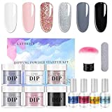 Latorice Dipping Powder Nail starter Kit of 6 color for French Nail Manicure Nail Art Set Essential Kit, 6pc Dipping Powder, 4pc 15ML Liquid, No UV Lamp,Easy to Apply (A)