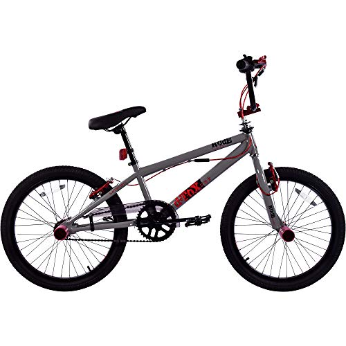 deTox Rude 20 Zoll BMX Fahrrad Bike Freestyle Street Park Rad Anfänger ab 140 cm 4 x Stahl Pegs 360° Rotor (Limited grau/rot)