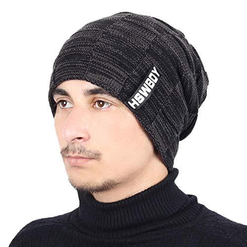 Bonnet Chapeau Homme Beanie Hats, Bonnet en Tricot de Couleur Unie de la Marque Hat écharpeVelvet d'hiver Chapeau Homme Femme Chaud épaissir Couverture Bonnet de Ski écharpes Douces @ Noir