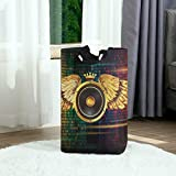 GRATNNA Laundry Bag Disco Party Photography Backdrop Golden Crown Angel Wings Background KTV Nightclub Bar Pub Carnival Large Laundry Hamper Bags,Standing Clothes Basket Collapsible for Dorm Bathroom