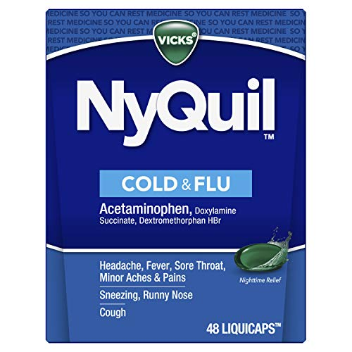 Vicks NyQuil LiquiCaps, Nighttime Relief of Cough, Cold & Flu Relief, Sore Throat, Fever, & Congestion Relief, 48 LiquiCaps