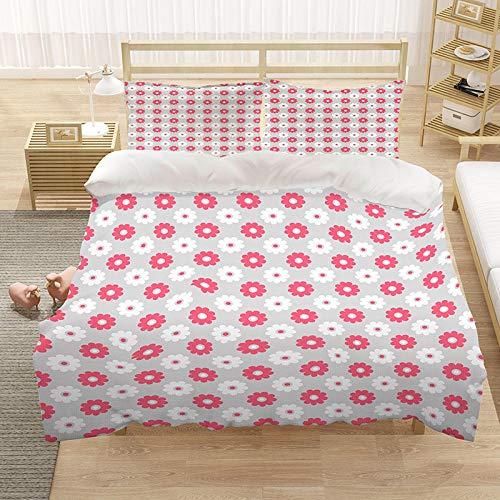 Juego de funda de edredón Super King Size Juego de ropa de cama con líneas rosas, 1 funda de edredón de microfibra de 260 x 220 cm, 2 fundas de almohada de 50 x 75 cm (sin colcha)