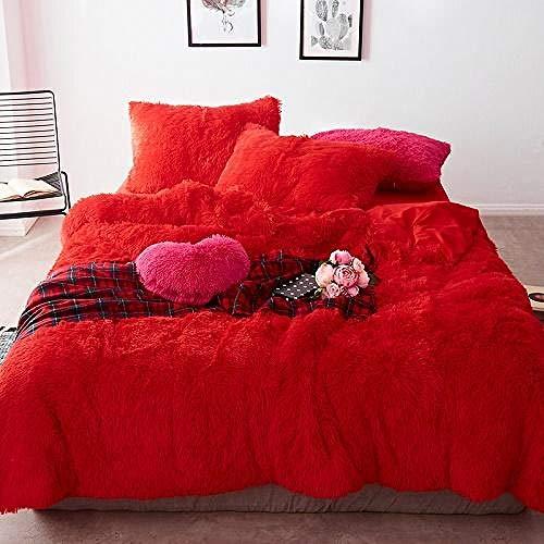 TYDH 43Thick Fleece Bedding Set Mink Velvet Duvet Cover Bed Linen Fitted Sheet Pillowcases 7 Fitted Sheet Style King Size 4pcs