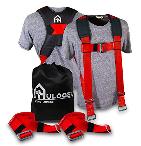 Furniture Moving Straps - Two Person Shoulder Harness for Lifting Heavy and Oversized Appliances (Red)