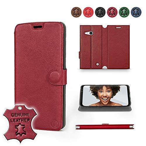 Mobiwear | Echt Lederhülle | Kompatibel mit Nokia Lumia 730, Made in EU handyhülle, Slim Leather Case, Premium Flip Schutzhülle, Transparent TPU Silicon, Book Style, Tasche - Dunkelrotes Leder