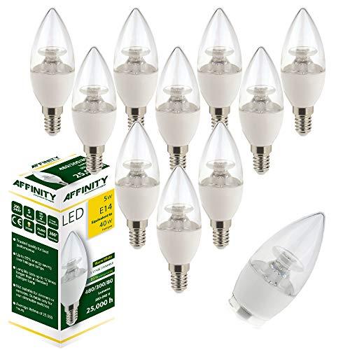 LED-Lampe, 5 W, E14, klar, 2.700 K, Warmweiß, 3 Stufen, dimmbar, 480 / 300 / 80 Lumen, 10 Stück