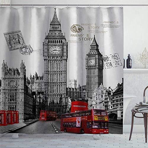 Duschvorhang London Berühmter britischer roter Bus & große Uhr in London Straßen der Stadt Urban Life Foto Duschvorhang mit Ringen Polyestergewebe Duschvorhänge mit Haken Bad Badezimmer Dekor