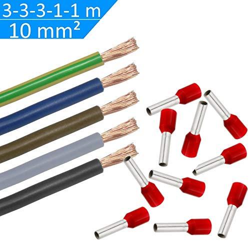 WITTKOWARE Verdrahtungssatz, 10mm², 3/3/3/1/1m (sw/gr/bn/bl/gn-ge), 50 Aderendhülsen