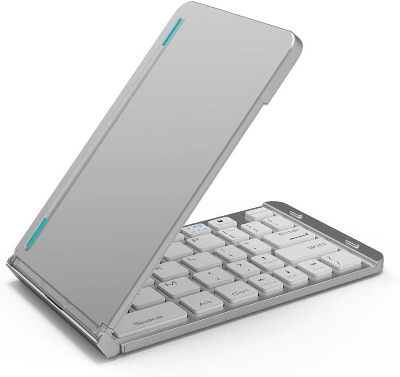 Tablet Easy to Carry Mini Folding Bluetooth Keyboard YongFeng Bluetooth Keyboard Three-System Universal Mobile Phone Color : Rose Gold