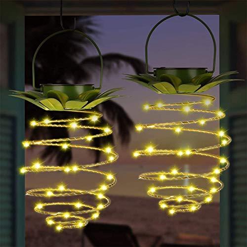 HOOJUEAN Paquete de 2 Luces Solares Diseño de Piña de Metal, Exteriores Linterna Colgante LED Impermeable con manija Encendido/Apagado automático Decorativo para Jardín Patio Camino