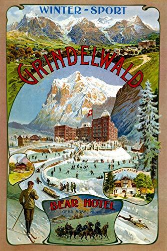 Grindelwald - Bear Hotel - Vintage Swiss Travel Poster (18 x 24)