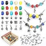 Sun studio Charm Armband Kit DIY Schmuck Bastelset Mädchen Handwerk Perle überzogen mit Silber Kette Schmuck Mädchen für Basteln MEHRWEG (Leuchtend)