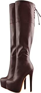 Women's Round Toe Chunky High Heels Platform Boots Lace-up and Side Zipper Booties (Color : Burgundy, Size : 2 UK)
