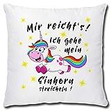 TRIOSK Einhorn Kissen lustig mit Spruch Mir reichts Dekokissen Geschenk für Einhornfans Frauen Mädchen Kinder Zierkissen Füllung 40x40 Rosa Bunt