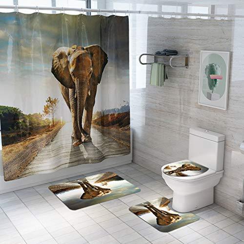 ZLWSSA Walking Street Elephant 3D Cortina De Ducha De Impresión Impermeable Poliéster Cortinas De Baño Juego De Alfombras Alfombra De Baño para Inodoro W180xH240cm
