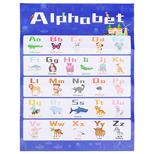Toyvian Pôster educativo para pré-escola Fônica Inglesa Idioma Arte Habilidades Cartazes Fônicos de Parede Quadros para Decorações de Sala de Aula 40 x 60 cm