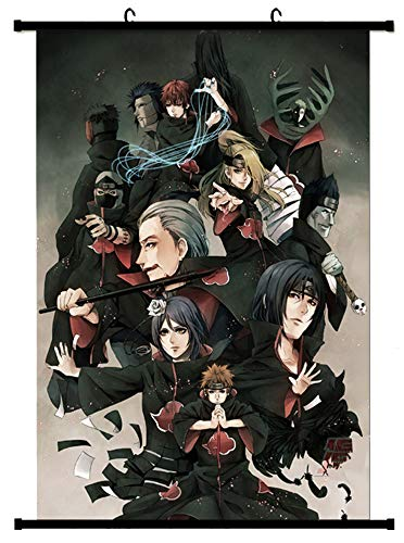 Wall Scroll Poster Fabric Painting for Anime Naruto Key Roles of Akatsuki (22x34inch)