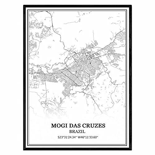 Mogi das Cruzes Brasil Mapa de pared arte lienzo impresión cartel obra de arte sin marco moderno mapa en blanco y negro recuerdo regalo decoración del hogar