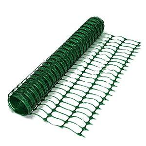 True Products B1001A Malla de seguridad de plástico de 50m, 5,5 kg, valla de seguridad rollo de malla, color verde