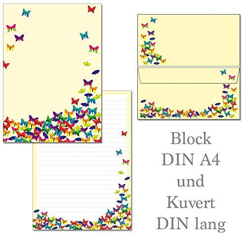 Schmetterlinge - 1 Schreibblock Briefblock DIN A4 + 15 Briefumschläge DIN lang Block-Set-SchmF