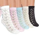 JHosiery Calcetines tobilleros de algodón Pointelle para mujer con costura plana