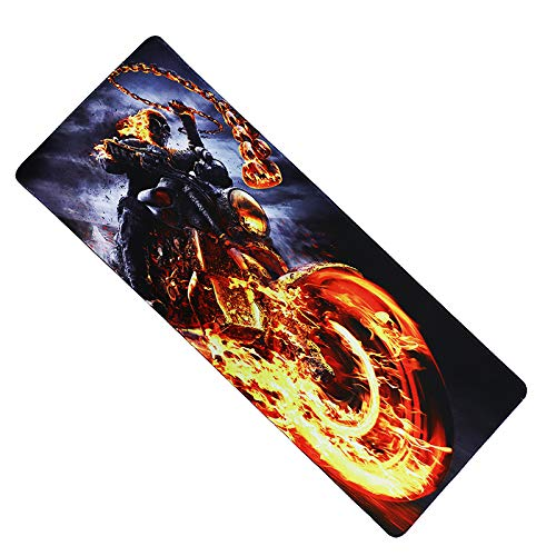 Fzaqua Extended Gaming Mouse Pad-Rubber Base with Anti-Fray Cloth Speed Soft Gamer Mouse Pad 31.5Lx11.8Wx0.12H(Ghost Rider)