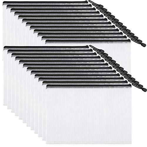 EOOUT 24pcs Mesh Zipper Pouch Document Bag Plastic Zip File Folders Letter Size/A4 Size Black for School Office Supplies Travel Storage