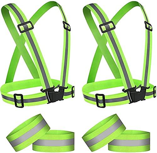 Seguridad Práctico chaleco reflectante en ejecución, 2 set chaleco y brazaletes de alta visibilidad para correr, ciclismo, caminar, ajustable elástico de seguridad deportivo al aire libre para hombres
