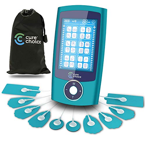 Cure Choice Dual Channel TENS + EMS Unit 24 Modes Unit Muscle Stimulator, Pulse Massager with 10 Electrode Pads + Storage Pouch for Muscle Pain Relief (Blue)