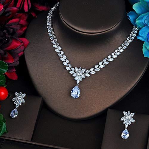 LIYDENG Joyería simple lágrima gota 3A Cubic Zircoina Jewelry Sets para boda fiesta Top Quanlity CZ joyería Set para regalo mujer (color: oro blanco)