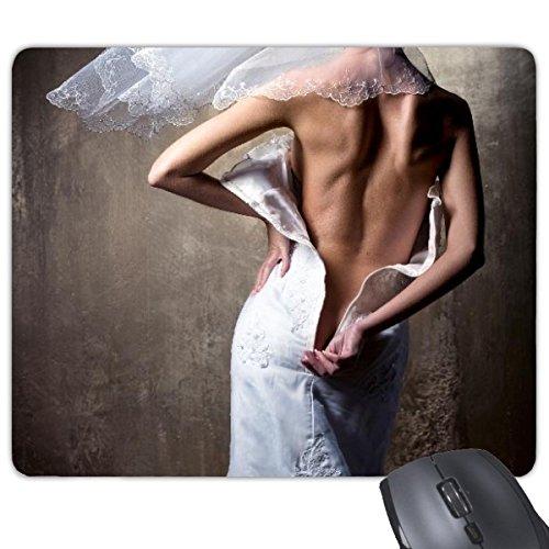 Vestido de novia blanco Nude Back Girl Gal Lady Rectángulo antideslizante de...