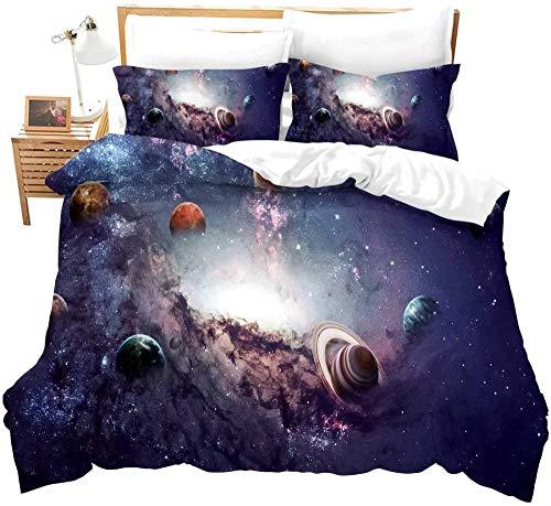 HUA JIE Galaxy Planet Funda Nórdica Twin Universe Decoración Ropa De Cama Sistema Solar Espacio Exterior Edredón Edredón 3D Starry Sky Astronomy Theme Set