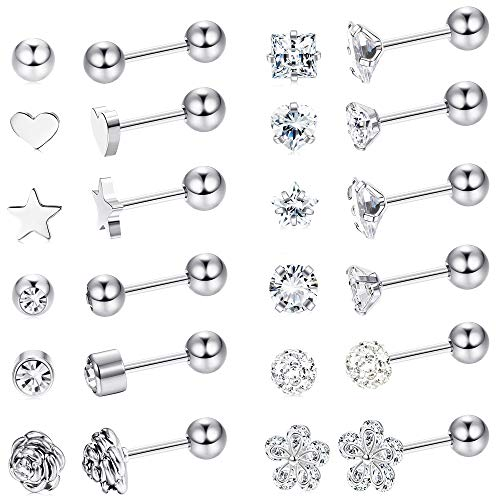 LOYALLOOK 12 Pairs Stainless Steel Ball Stud Earrings Barbell Cartilage Helix Ear Piercing 3-6mm 2 Colors (18G 12 Pairs Silver Tone 4mm)