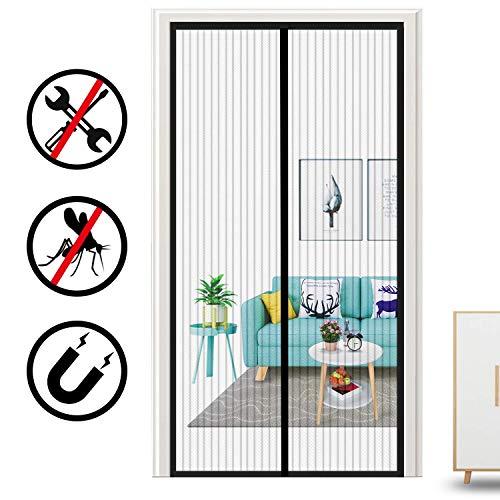 DX hordeur raam, magisch display voor deur, magnetisch, met houder voor patio, gordijn, gemaakt van robuust mazen om insecten te voorkomen, zwart, 110 x 210 cm