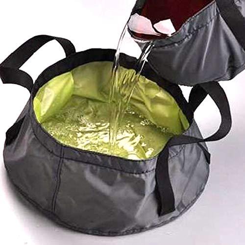 Tragbarer Wasserbehälter aus Nylon, zufällige Farbauswahl, für den Außenbereich, wasserdicht, Camping-Eimer, zusammenklappbar, Waschtisch, Wassertopf