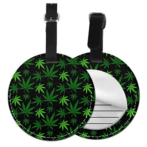 Etiquetas de equipaje redondas de hoja de marihuana Etiquetas de identificación de viaje de equipaje de cuero, Negro (Negro) - Lp7bgrc-47234925