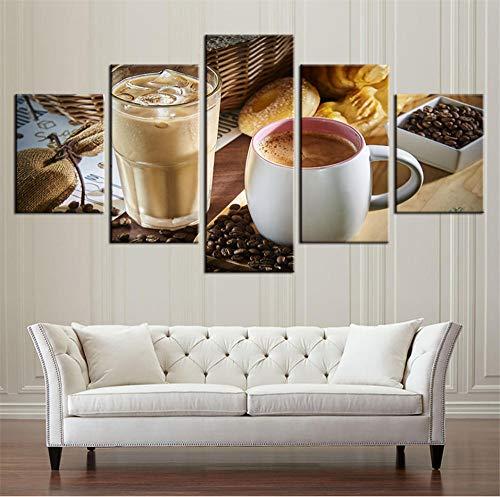 DKMDT Benutzerdefinierte Hd Leinwand Gedruckt Malerei 5 Stück Wand Artrestaurant Dampfende Kaffeetasse Kaffeebohne Küche