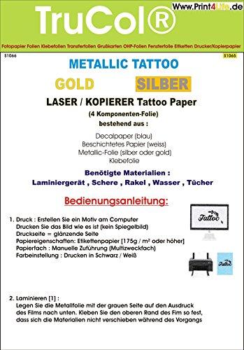 Tattoo – Transferfolie Silber FÜR DIE Haut – Metallic Tattoo Silber - zum aufkleben und selbst gestalten - für Laserdrucker und Kopierer (A4 – 5 Blatt) - Tattoofolien