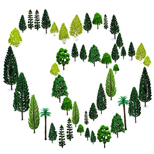 OrgMemory 36pcs Mixed Model Trees 1.5-6 inch(4-16 cm), Ho Scale Trees, Diorama Supplies, Model Train Scenery, Fake Trees for Projects, Woodland Scenics with No Bases