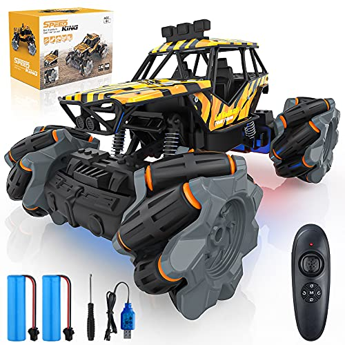 1:18 Scale 4WD RC Cars, 20km h High Speed Remote Control Car for Boys 3-5 4-7 8-12, 2.4GHz All Terrain Drift RC Monster Trucks 4x4 Off Road Crawler 2 Rechargeable Batteries Led Light for 50 Min+ Play
